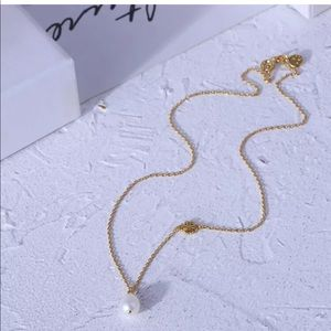 Tory Burch Pearl Logo Necklace